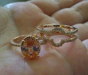 Women's Bridal Enhancer Wedding Ring 3Ct Oval Cut Morganite 14k Rose Gold Finish