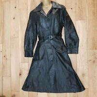 Ladies Vintage Real Leather COAT UK 12 trench Black Gothic Steampunk boho hippy
