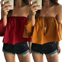 Fashion Women Off Shoulder Tops Ladies Short Sleeve Casual Blouse Summer T Shirt
