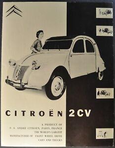 1953-1954 Citroen 2CV Brochure Folder Sedan Truckette Van Excellent Original