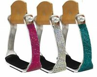 BLING ! WESTERN HORSE SADDLE ALUMINUM BARREL RODEO STIRRUPS COVERED IN CRYSTALS