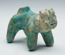KASHAN TURQUOISE GLAZED POTTERY CAT FIGURE 12/13TH C.