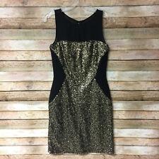 Aidan Mattox Womens Gold Sequin Black Illusion Mesh Sheath Cocktail Dress Size 2