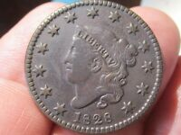 1828 Coronet Head Large Cent, Small, Wide Date Variety, VF+ Cond, Lot# 67-49
