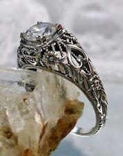 Natural White Topaz Sterling Silver Edwardian/Deco Love Filigree Ring Size: 7
