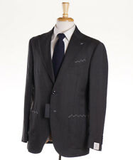 NWT $3800 LUIGI BORRELLI NAPOLI Gray Micro Nailhead Wool Suit Slim 42 R (Eu 52)