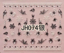 Halloween Black White Spider Webs Silver Rhinestone 3D Nail Arts Sticker Decals
