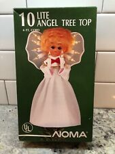 Vintage 10 Lite White Angel Tree Top Colored Lights Blonde Doll Face Noma 6 Ft