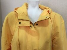 Jones New York Lemon Yellow Hooded Windbreaker Light Weight Jacket Coat Wmn L
