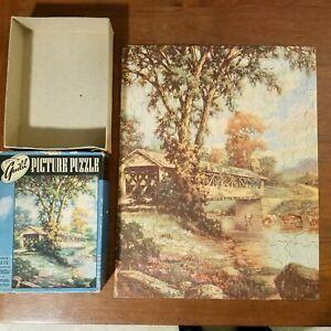 Whitman Guild Picture Puzzle Old Covered Bridge 2900 Series M Vintage 375