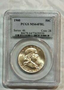 1960 SILVER FRANKLIN HALF DOLLAR ~~ PCGS MS64FBL ~~ (550)  ~~ Great Shine ~~