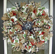 French Country Christmas Deco Mesh Front Door Wreath, Porch Decoration, Holiday