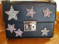 Ladies black diamonte leather look satchel bag