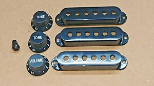 BlacK Electric Guitar Pickup Covers  Control Knobs Switch End Strat Style