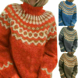 Women Knitted Nordic Sweater Roll Neck Jumper Casual Pullover Winter Warm Top