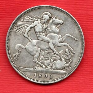 1891 STERLING SILVER CROWN COIN. QUEEN VICTORIA JUBILEE HEAD.