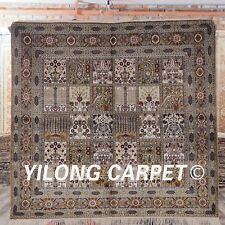 YILONG 5'x5' Square Handknotted Silk Carpet Four Seasons Area Rug ZW069M