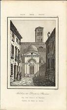 Stampa antica RAVENNA Sepolcro di Dante Romagna 1845 Old antique print