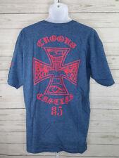 Crooks and Castles Bomb Squad Maltese Cross Graphic Mens XL V-Neck T-Shirt Blue
