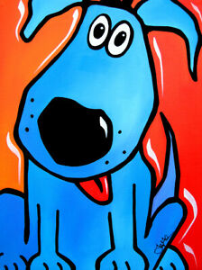 CANVAS Tuffy Blue Dog Pop Art by Tom Fedro 24x36 Art Gallery Wrap Painting