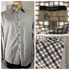 Jhane Barnes Men's XXL 2XL Shirt Slim Fit Flip Cuff White Blue Gray Checkered