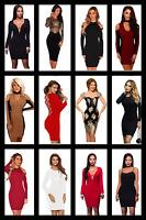 Dress Mini Bodycon Womens Ladies UK Size 6 14 Party Dresses Long Evening Sleeve