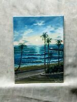 "Art12""/9""oil painting, California beach, sunset, Seascape, landscape,art for you"