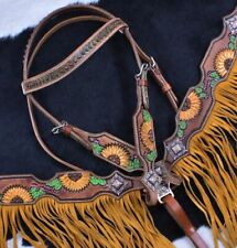 Western Saddle Horse Tack Set w/Sunflower + Cactus design Bridle + Breast Collar