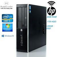 Cheap HP Elite 8200 SFF Fast Intel Core i3 3.1GHz WiFi 8GB SSD 1TB Win10 Pro PC