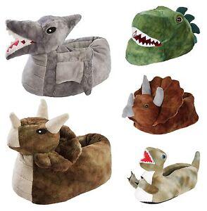 Kids 3D Novelty Dinosaur Slippers Fleece Booties Dino Xmas Gift Boys Girls Size