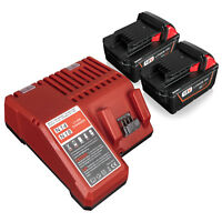 2Pack for Milwaukee M18 48-11-1850 6.0Ah 18V Li-ion Battery & 48-59-1812 Charger