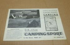 CAMPING CANOE catalogue publicitaire camping sport 1934