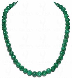 Emerald Gemstone Melon Shaped Round Bead Necklace NP1013