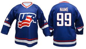 Team USA BLUE Ice Hockey Jersey Custom Name and Number