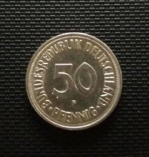 50 Pfennig Münze BRD 1950 Prägeort F, Sehr guter Zustand!