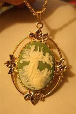 Lovely Leaf Rim Green & Cream Greek Muse Harp & Angels Goldtone Pendant Necklace