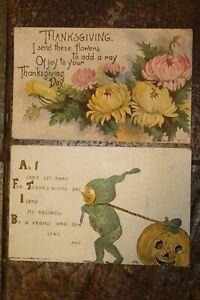 Lot De Thanksgiving Envoie Cartes 1910 & 1911 ~ Sans Écriture,Cachet la Poste ~#