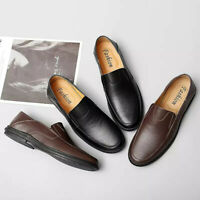 Mens Genuine Leather Driving Shoes Slip On Breathable Business Casual Loafers