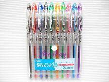 10pcs Pentel Slicci 0.4mm Ultra Fine Roller Ball Pen Set