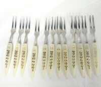 12 Vintage Cocktail Forks Stainless Japan With White Plastic Handles