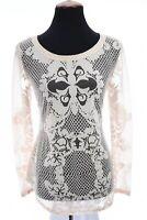 Cache Womens Burnout Sheer Top T-Shirt Fleur De Lis Stretch Cream Sz Small