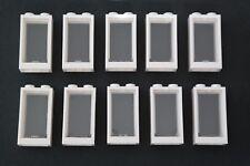 10 Lego Fenster mit Glas 1x2x3 weiß transparent klar NEU 60593 60602