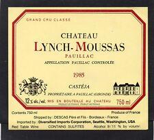 PAUILLAC 5E GCC ETIQUETTE CHATEAU LYNCH MOUSSAS 1985 75 CL EXPORT USA §16/02/18§