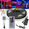 5M Waterproof 300 LED Strip Light US Power Full Kit SMD 44 Key Remote RGB 5050