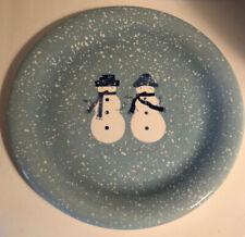 "Target Home WINTER FROST SNOWMAN FAMILY 10.75"" Dinner Plate Set Christmas Blue"