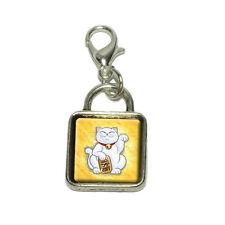 Lucky Cat Maneki Neko Fortune Kawaii Dangling Bracelet Pendant Square Charm