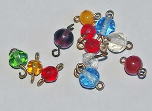 12 old Mixed Color GLASS BEADS CONNECTORS BRASS WIRED for Rosary Necklace Earrin