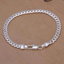 Bracelet Plaqué Argent 925 eme Pour Femme Maille Americaine