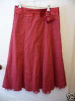 Rockabilly dark red City Casuals size 12 Pinup cotton skirt with net hem brooch