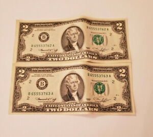 $2 BILL SET OF TWO- 1976 NEW YORK B- CONSECUTIVE SERIAL NUMBERS- PRINTING ERROR